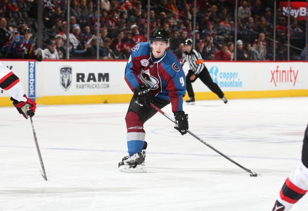 DENVER, CO - JANUARY 14: Matt Duchene #9 of the Colorado Avalanche looks to take a shot against the New Jersey Devils at the Pepsi Center on January 14, 2016 in Denver, Colorado. (Photo by Michael Martin/NHLI via Getty Images)