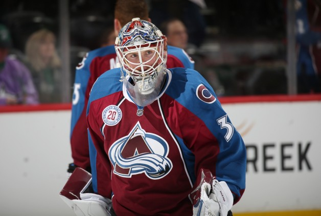 DENVER, CO - FEBRUARY 4: Goaltender Calvin Pickard #31 of the Colorado Avalanche skates during warm ups prior to the game against the Dallas Stars at the Pepsi Center on February 4, 2016 in Denver, Colorado. (Photo by Michael Martin/NHLI via Getty Images)