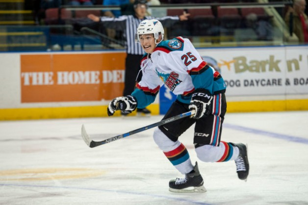 KELOWNA, CANADA - SEPTEMBER 5: Cal Foote #25 of Kelowna Rockets skates against the Prince George Cougars on September 5, 2015 during the first pre-season game at Prospera Place in Kelowna, British Columbia, Canada.  (Photo by Marissa Baecker/Shoot the Breeze)  *** Local Caption *** Cal Foote;