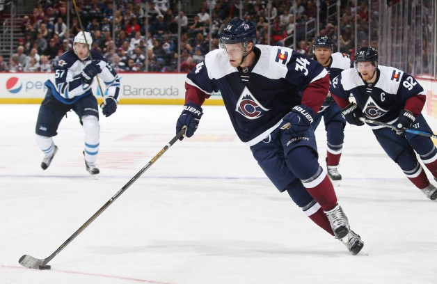 DENVER, CO - OCTOBER 28 : Carl Soderberg #34 of the Colorado Avalanche skates with the puck against the Winnipeg Jets at the Pepsi Center on October 28, 2016 in Denver, Colorado. The Jets defeated the Avalanche 1-0.  (Photo by Michael Martin/NHLI via Getty Images)